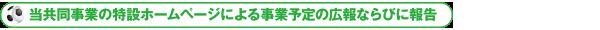 当共同事業の特設ホームページによる事業予定の広報ならびに報告